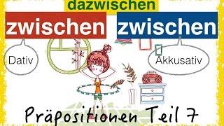 """German Prepositions - two-way-prepositions, in this video: ZWISCHEN (between) and the adverb DAZWISCHEN (in between). The German prepositions are one of the hardest grammar, for sure. You have to learn it step by step, with examples and pictures - and of course exercises!Let's communicate on PATREON! https://www.patreon.com/FreeGermanLessons""""ZWISCHEN"""" is a changing preposition or two-way-prepositon, Wechselpräposition in German. It takes accusative and dative.Dative: WO? - where?Accusative: WOHIN? - where to? change of place from A to B.Beispiele: 1. WO (Dativ)Das Baby sitzt zwischen seinen Eltern.Der Teller liegt zwischen der Gabel und dem MesserDas Deutschbuch steht zwischen zwei anderen Büchern2. WOHIN (Akkusativ)Der Junge setzt sich zwischen seine ElternIch lege den Teller zwischen die Gabel und das MesserIch stelle das Deutschbuch zwischen zwei andere Büchern3. WANN (Dativ) Mein Paket von Amazon kommt zwischen dem dritten und fünften April.Der Postbote kommt immer zwischen neun und zehn Uhr.die Zeit zwischen den Jahren= die Zeit zwischen Weihnachten und Neujahr4. Zwischen WEM / WAS? (Dativ)(umgangssprachlich) es ist aus zwischen ihm und ihr(ihre Freundschaft, Beziehung ist zerbrochen) es gab einen Streit zwischen (unter) den KindernDie Temperaturen in Berlin liegen momentan zwischen 12 und 15 Grad.Der Preis liegt zwischen fünf und sechs Euro.5. DAZWISCHENLisa liebt Hulahop - zwischen ihr und dem Reifen ist viel Luft. Hier passt nichts mehr dazwischen….Es gibt einen Streit zwischen den Kindern. Ich gehe dazwischen!= Ich versuche, den Streit zu beenden.Ich schaue zwei Videos an. Dazwischen trinke ich einen Kaffee.PDF AND QUIZ IS FOLLOWING SOON!Join my Facebook group to practice every day: http://facebook.com/learningGermanWithAnna/Join me on google+ https://goo.gl/55syNLLet's tweet on Twitter: https://twitter.com/FreeGermanAnnaLearn with my eBooks! Buy eBooks for less than 3€ - and support me and my Channel :-)"""