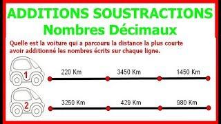 Maths 6ème - Additions et soustractions de nombres décimaux Exercice 3