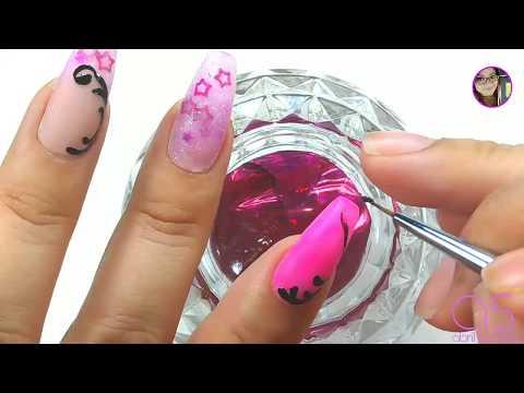 Uñas acrilicas - Diseño rosa  Colaboración con Deny Bonilla