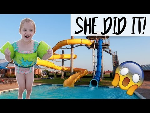 4 YEAR OLD GOES DOWN A HUGE WATER SLIDE!!