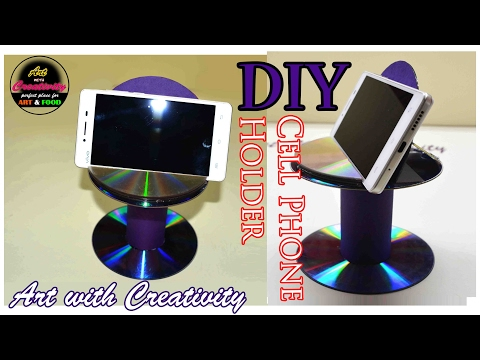 DIY Cell phone Holder | Best out of Waste | CD/DVD | Art with Creativity 156