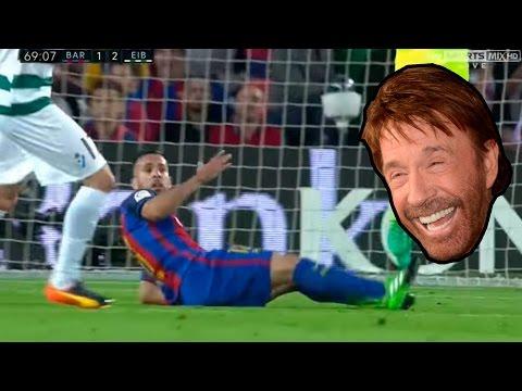 Penaltis Eibar - Barcelona ( Chuck norris hace dos claros penaltis a Neymar y Jordi Alba )