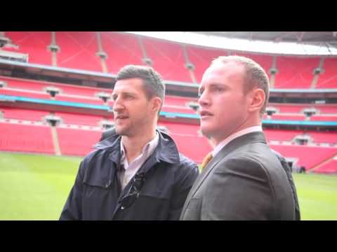 exclusive - CARL FROCH SHOVES GEORGE GROVES AS TEMPERS FLARE PITCHSIDE @ WEMBLEY - EXCLUSIVE FOOTAGE.