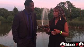 Lance Guma speaks to performing artist Tsungai Tsikirai just before her performance at the Miss Zimbabwe UK 2015 pageant.