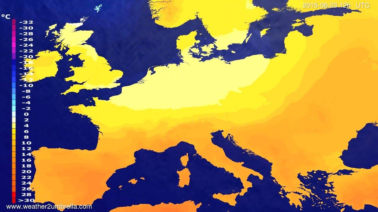 Temperature forecast Europe 2015-06-21