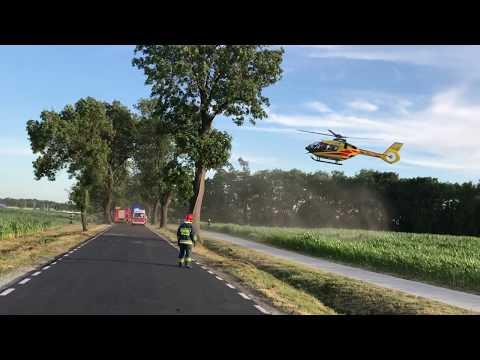 Wideo1: Wypadek Siedlec - Pępowo. LPR zabiera dziecko do szpitala