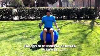 Biceps alternativo sentado sobre fitball con mancuernas