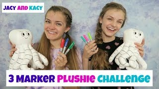 Video 3 Marker Plushie Challenge ~ Fun DIY Doodle Plushie ~ Jacy and Kacy MP3, 3GP, MP4, WEBM, AVI, FLV Juli 2018