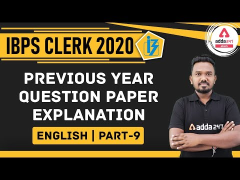 IBPS CLERK 2020 | English | IBPS Clerk Previous Year Question Paper Explanation - 9