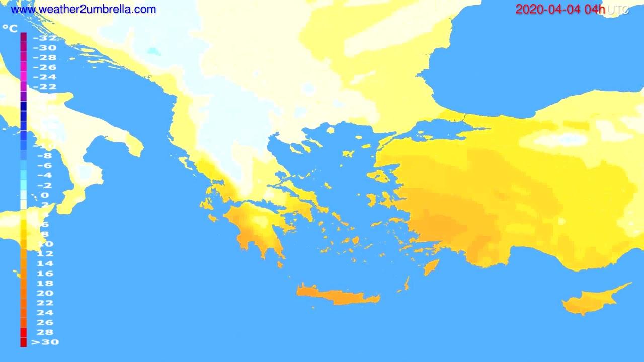 Temperature forecast Greece // modelrun: 12h UTC 2020-04-03