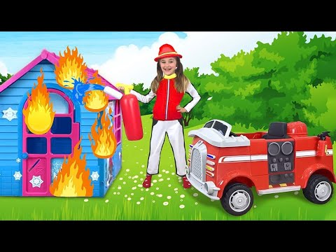 Sasha plays a Fireman to the Rescue Friends and their Toys