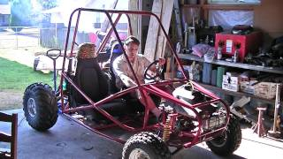 Hot Rod GoKart running. 1993 Arctic Cat Panther 440cc - 2 cylinder - 2 stroke engine. 2 seat dune buggy / mini baja. home built from scratch with my own personal design. Used some parts from a 1989 Yamaha Warrior 350 and a mazda miata. Steel DOM chassis with aluminum panels