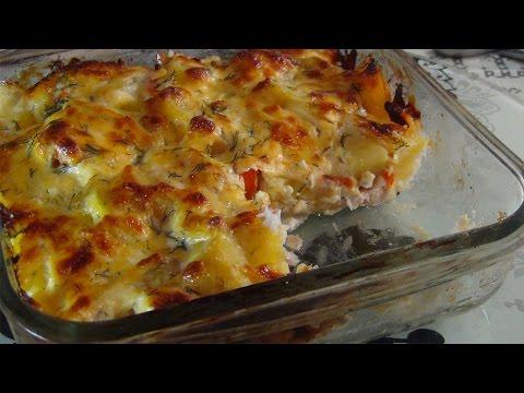 как запечь рыбу с овощами в духовке