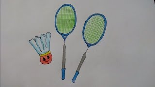 Draw badminton rackets and shuttlecock from alphabet Y step by step for kids, Badminton racquets and shuttlecock