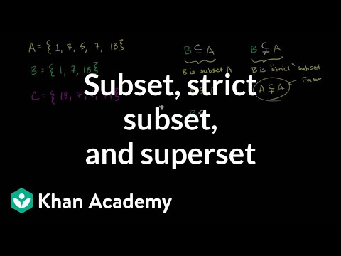 Subset Strict Subset And Superset Video Khan Academy