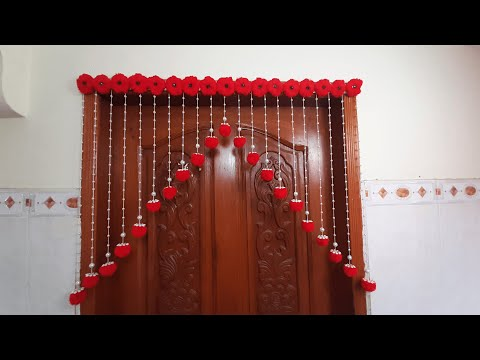 Pom Pom!!! Wall Hanging   How to make Door Hanging at Home   Woolen Craft Idea