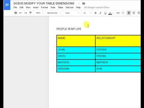 DOD35 MODIFY YOUR TABLE DIMENSIONS