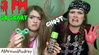 Hey y'all Glittertastic babes! It's Gertie here and today Therma and I will be doing the super scary 3 PM challenge. Never stay up to 3 PM! While I was trying to tell a spooky story, Therma and I saw a bloody hand on the wall, our fidget spinners made noise, Shawndie fell from the ceiling, and a ghost attacked my hand. We are also super sorry that we haven't made a video of us for months. I had been so busy on tour around the globe and I can't wait to share all those pics with you on our Instagram, Musical.ly, and Twitter pages. Follow us at:Instagram: gertieandthermaTwitter: GertieandThermaMusical.ly: gertieandthermastars__Subscribe for videos every Thursday!☆http://www.youtube.com/channel/UCS0kA-D1M87dDfkWRl_DLJA?sub_confirmation=1Comment down below if you have ever stayed up till 3 PM!♡Like this video if you enjoyed!Here are some more videos I think you might like:Operation Slime Challenge: https://www.youtube.com/watch?v=FycQVuqxORwCoke and Mentos Challenge: https://www.youtube.com/watch?v=ZZD0C2Fu-vsLip Retractor Challenge: https://www.youtube.com/watch?v=IXKf89bTx_EFast Food Fondue Challenge: https://www.youtube.com/watch?v=oUgfiExrN4URainbow Ice Bath Challenge: https://www.youtube.com/watch?v=sM8tujZbsLUNever Have I Ever: https://www.youtube.com/watch?v=n340lu1BIpYTwisted Twister:  https://www.youtube.com/watch?v=XzR_twNyxSEHungry Hungry Hippos Game Twist: https://www.youtube.com/watch?v=Z0kuKpzfh0YFamily Lip Retractor Challenge: https://www.youtube.com/watch?v=y_ridJVmS8EYou can send fanmail! AllAroundAudreyP.O. Box 6792N. Logan, Utah 84341__Follow Me On:Instagram- https://instagram.com/allaroundaudrey/Twitter- https://twitter.com/AllAroundAudreyFacebook- https://www.facebook.com/AllAroundAudrey?ref=profilePinterest- https://www.pinterest.com/allaroundaudrey/Musical.ly- AllAroundAudreyYouNow: AllAroundAudrey__♡ My Sister's Channel: https://www.youtube.com/channel/UCHOMvu3axPhTG5zLqrHynig♡ My Brothers' Channel: https://www.youtube.com/channel/UCCHmMn-aFceiyb81Z-fu-zw♡ Our Family Channel: https://www.youtube.com/channel/UCbZgDzTkBQMkPWYBFESJ3sQ♡ Check Out My Previous Video: https://www.youtube.com/watch?v=upngpNYNIKU♡ For Business Inquiries: AllAroundAudrey99@gmail.com__Music Credits:Disco Lounge by Kevin MacLeod is licensed under a Creative Commons Attribution license (https://creativecommons.org/licenses/by/4.0/)Source: http://incompetech.com/music/royalty-free/index.html?isrc=USUAN1100602Artist: http://incompetech.com/Haunting Dreams by Twin Musicom is licensed under a Creative Commons Attribution license (https://creativecommons.org/licenses/by/4.0/)Source: http://www.twinmusicom.org/song/249/haunting-dreamsArtist: http://www.twinmusicom.orgSpooky Ride by Twin Musicom is licensed under a Creative Commons Attribution license (https://creativecommons.org/licenses/by/4.0/)Source: http://www.twinmusicom.org/song/250/spooky-rideArtist: http://www.twinmusicom.orgThe Evening of Departure by Twin Musicom is licensed under a Creative Commons Attribution license (https://creativecommons.org/licenses/by/4.0/)Artist: http://www.twinmusicom.org/__Thanks for Watching!XOXO,Audrey and Gertie
