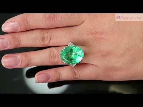 GIA 18 27CT VINTAGE COLOMBIAN OVAL GREEN EMERALD DIAMOND 3 STONE RING PLATINUM
