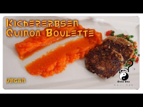 Kichererbsen Quinoa Boulette mit Paprika-Erbsen Gemüse und Karotten-Ingwer-Püree