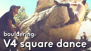 Bouldering at tram with friends: Square dance problem V4 by  rockentry