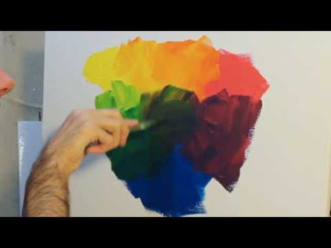 How to paint: using and mixing primary colours with acrylic paint on canvas.