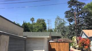 A power line exploded today while SoCal Ed was trying to replace a pole in South Pasadena, CA.