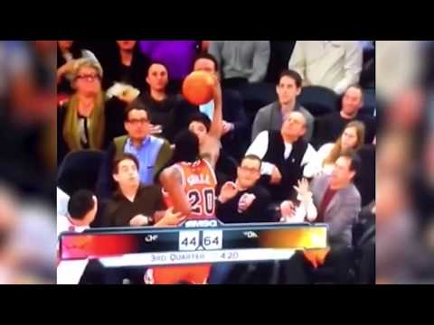 """Knick fan heckles NBA player. NBA player """"accidentally"""" falls into him."""