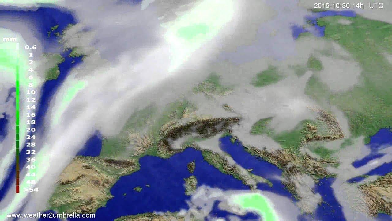 Precipitation forecast Europe 2015-10-26