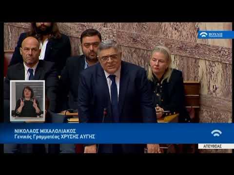 Ν.Μιχαλολιάκος (Γενικός Γραμματέας Χρυσής Αυγής) (Προϋπολογισμός 2018) (19/12/2018)