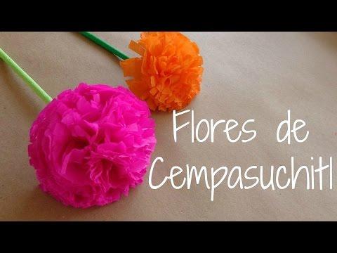 Flores de Papel - Ahora haremos unas flores hechas de papel crepe para darles forma a flor de cempasuchitl o flor de muerto como algunos le conocen, bueno mas que nada aqui en...