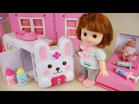 Baby doll Rabbit ambulance Hospital toys play with Pororo