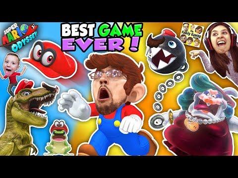 SUPER MARIO ODYSSEY 💗 FGTEEV! DINOSAURS, FROGS & CHOMP CHAINS R BOSS! BEST VIDEO GAME EVER! (Pt. 1) (видео)