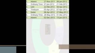 Liturgical Calendar YouTube video
