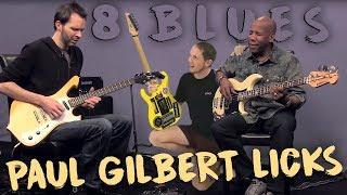 Video BEST 8 LICKS: Paul Gilbert BLUES (ArtistWorks Jam In A) | EASY Simple Intermediate Lesson MP3, 3GP, MP4, WEBM, AVI, FLV Agustus 2018