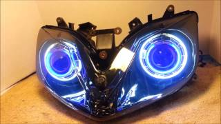 9. #1 2001 - 2006 Honda CBR600 F4i HID Projector Headlights BiXenon Dual Angel Eyes Halo By BKmoto.com