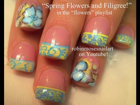 Spring Flowers & Filigree Nail Art