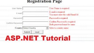 ASP.NET Tutorial 2- How To Create A Login Website - Validation Controls ( Registration Page )