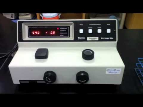 spectrometer - In this video I demonstrate how to properly calibrate the spectrophotometer and then use it to obtain the absorbance and transmittance of a sample.