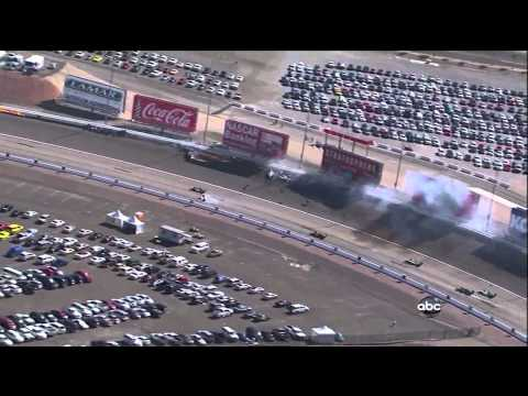 fatal - Dan Wheldon died today, October 16, 2011, after this hard wreck at Las Vegas Motorspeedway. They ended the race after a 2-hour red flag and held a 5 lap trib...