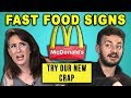 Download Video ADULTS READ 10 FUNNY FAST FOOD SIGNS (REACT)