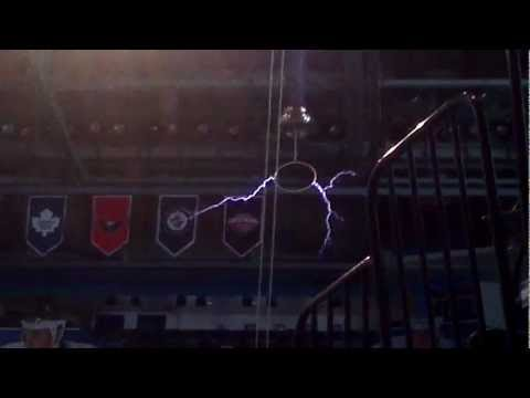 Testing out the Tesla Coil at St Pete Times Forum      - YouTube