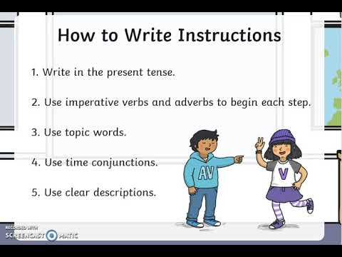 Writing Instructions- Year 1