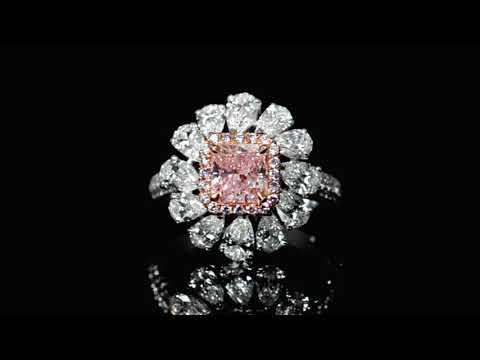 經GIA鑑定1.52克拉彩紫粉紅鑽石戒指