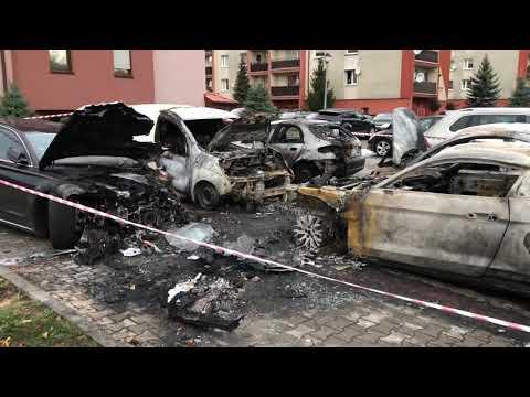 Wideo1: Skutki pożaru samochodów na Gronowie