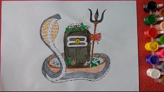 Maha Shivratri Shivling Drawing for kids, How to draw Shivling...