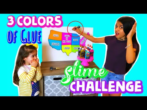 Our Dart Chooses our 3 Colors of Glue Slime Challenge!!