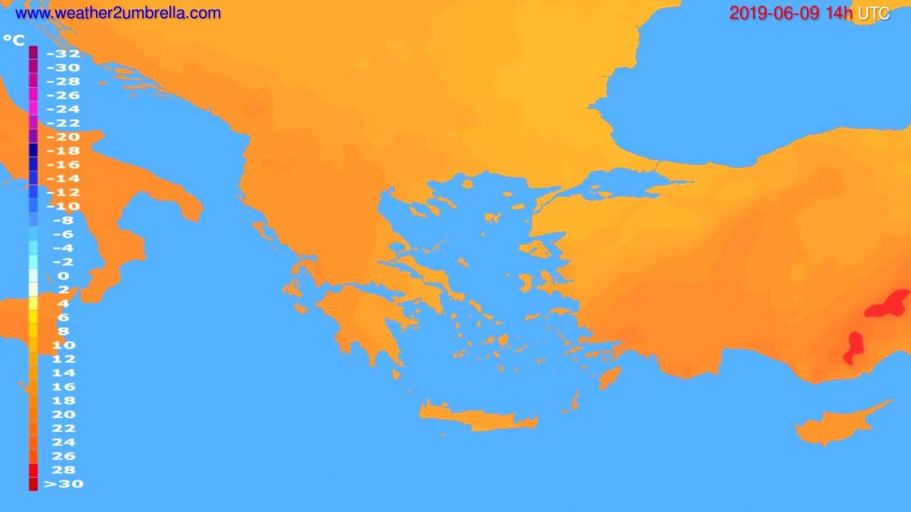 Temperature forecast Greece // modelrun: 00h UTC 2019-06-07