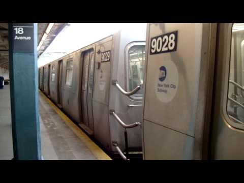 Times Square Bound R160B SIemens N Train @ 18th Ave (видео)