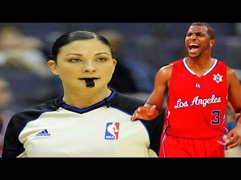 female referee Lauren Holtkamp vs the Clippers Chris Paul